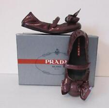 Prada Children Kids wine red patent leather ballet flat bow logo 28 Girls 8