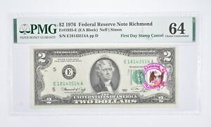 Rare PMG Grade 64 FR1935-E (EA Block) 1976 $2 Note Bill 1st Day Issue Stamp *906