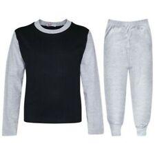 Kids Girls Boys Pjs Contrast Grey Color Plain Stylish Pyjamas Set Age 2-13 Years