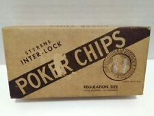Vintage very old box of Styrene inter-lock 100 poker chips  regulations