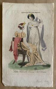 1809  Lady's Magazine Hand Coloured Regency Fashionable Full Dress Moses