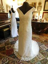 GORGEOUS  BEADED CHANTILLY LACE FITTED  WEDDING GOWN OFF SHOULDER SIZE 12