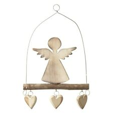 Shabby Chic Rustic Hanging Wooden 'Angel on twig' with 3 hearts Heaven Sends