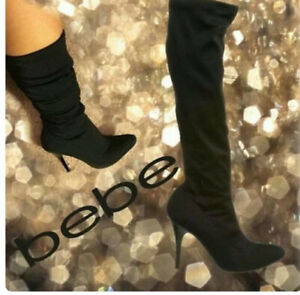 Bebe  Pauline Stretchy Knee Boots Black Size 7 Perfect For Winter