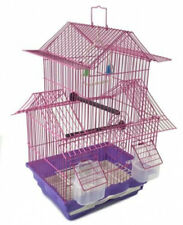 Bird Cage Two Story House Style Pink Starter Kit Swing Perch Feeders