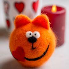 Merino Wool Cat Needle Felted Toy Valentine's Day Gift Romantic Souvenir