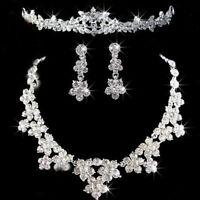 Wedding Party Bride Crystal Rhinestone Necklace Earrings Headband Jewelry Set JE