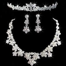 Wedding Party Bride Crystal Rhinestone Necklace Earrings Headband Jewelry Set 3c