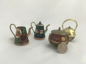 Hand Painted Canal Ware Miniature Watering Cans Kettles Pot
