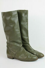 80er Bogner Vintage Lederstiefel Stiefel Slouch Boots 37,5 oliv grün