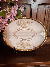 More details for vintage crown devon fieldings white & gold lustre rose divided serving dish