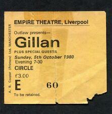1980 Ian Gillan from Deep Purple Concert Ticket Stub Liverpool UK Glory Road