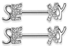 "Nipple Rings barbell ring 316L Surgical Steel ""SEXY"" Nipple Bar with Paved Gems"