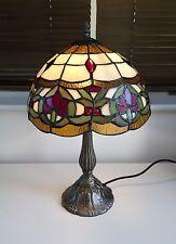 Quality BORDER TIFFANY TABLE LAMP Multicoloured  Glass Light Shade Metal Base