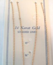 """14K ROPE CHAIN 15"""" inch - .6mm Wide - SOLID YELLOW GOLD - NEW"""