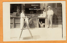 Real Photo Postcard RPPC - People Outside of Bakery and Restaurant