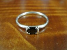 Silver 925 Ring Size 9 Faceted Black Stone Oval Shape Sterling