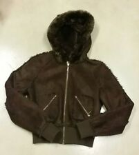 Candie's Suede Leather Women's Brown Bomber Hooded Jacket Size M RN 73277