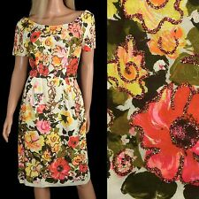 Vintage 50s WIGGLE PENCIL DRESS Glitter Floral Bombshell Hourglass Novelty Print
