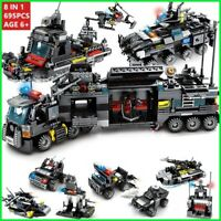 City Police SWAT:8 IN 1 with Truck Station Building Blocks Ship Technic toys