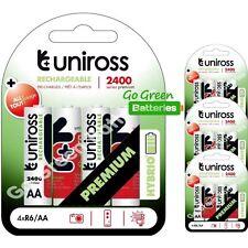 16 x Uniross HYBRIO AA 2400 mAh rechargeables piles, pré chargées NiMH LR6, HR6