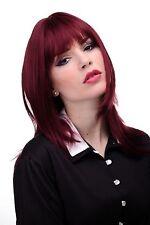 Lisse Perruque femme Rouge Rouge grenat Longue jusqu'aux épaules & Pony env.