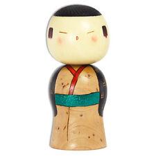 "Japanese Creative KOKESHI Wooden Doll Boy 6"" Festival Brown Kimono Made in Japan"