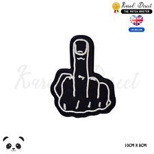 Middle Finger Biker Embroidered Iron On Sew On PatchBadge For Clothes etc