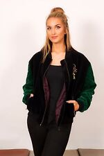 vintage black & green quilted velvet bomber jacket with gold embroidered bow L