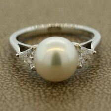 Classic Akoya Pearl Diamond 3-Stone Platinum Ring 0.41CTW (diamonds)