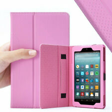 "For Amazon Fire 7 "" 2017 Tablet Case Synthetic Leather Stand Cover Pink"