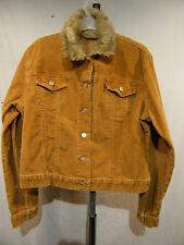 Levis Womens Jacket Brown Corduroy Vintage With Faux Fur Collar Coat SZ L
