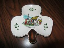 Carrigaline Pottery - Shamrock Shaped Trinket Dish With Gold Leafing Vintage