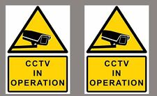 2x CCTV in operation warning sign sticker, yellow, Small A6 size 105x150mm