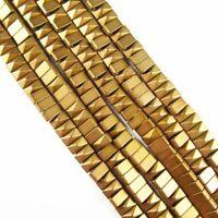 "21.6g 4x2mm Matte Amygreen Hematite Wavy Loose Bead 15.5/"" 336TS"