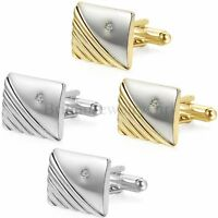 Men's Silver Gold Tone Stainless Steel Square Wedding Shirt Cuff Links Cufflinks
