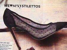 $155 Victoria Secret Shoes Stiletto Heels Black Mesh Kid Suede Lace Size:9 NEW*