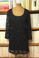 FRENCH CONNECTION dress UK 8 US 4 navy blue crochet macrame lace
