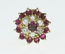 14K Yellow Gold Slide Bracelet Charm Ruby Diamond Round Cluster