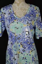 Karen Scott Womens Medium V-Neck Elbow Sleeve Shirt Top Blue Flower Print NEW