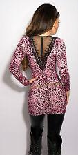 Sexy Rücken Pullover LongPulli mit Spitze Stickerei Leoprint Pink Rose S/M 36 38