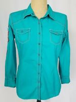 Ariat Women's Western Rodeo Snap Shirt Large Blue Embroidered Long Sleeve Fitted