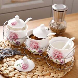 Elegant 3 Pcs/ Set  Ceramic Traditional Flower Sugar Bowl Home Kitchen Jar Gift