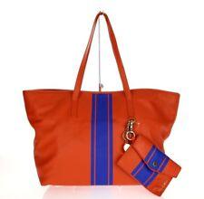 Cynthia Rowley Orange Hayden Striped Leather Tote Bag $295
