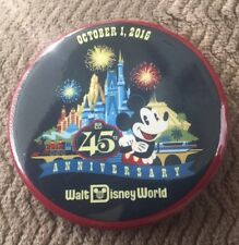 "Walt Disney World Button 45th Anniversary Oct.1 2016 Mickey Magic Kingdom 3"""