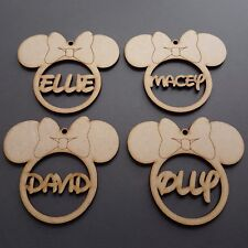 Wooden Disney Personalised Bauble Christmas Tree Birthday Name Tag Gift MDF 50mm