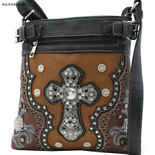 604W129 CROSS BROWN WESTERN RHINESTONE HIPSTER CROSS BODY PURSE CONCEALED CARRY