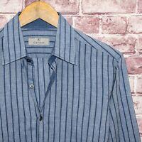 CANALI 1934 Men's Luxury Button up Shirt Blue Striped Cotton Linen Sz Medium