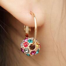 New Women Fashion Elegant Crystal Rhinestone Ball Ear Stud Hoop Earrings Jewelry