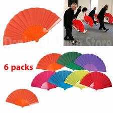 6 pc Summer Portable Plastic Hand Fan Folding Chinese Dance Japanese Wedding Lot